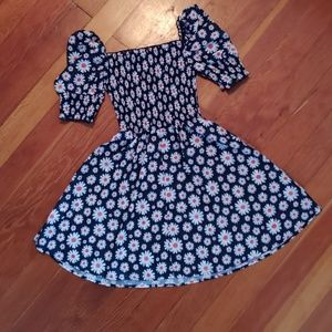 Daisy Print Flare Dress